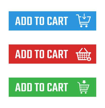shopping cart item add buttons set, buy now and checkout signs