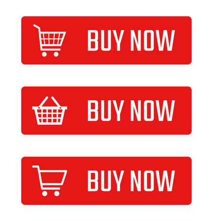 buy now button set, shopping trolley signs