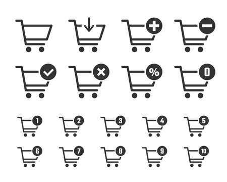 shopping cart icon set, trolley signs for internet shop
