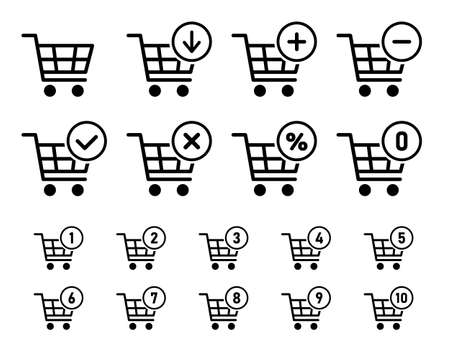 shopping cart sign set for website, shopping trolley icons