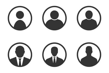 profile avatar signs, user icon set with men profile