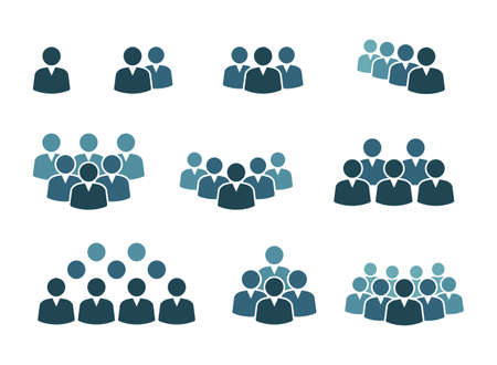 workgroup with leader sign set, people group icons