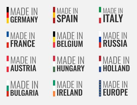 Satz von Vektoretiketten in Spanien, Italien, Deutschland, Frankreich, Belgien, Russland, Holland, Österreich, Ungarn, Irland, Bulgarien und hergestellt in Europa, Flagge der Europäischen Union Vektorgrafik