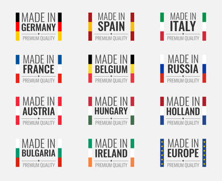 vector set made in germany, france, italy, spain, belgium, russia, holland, austria, hungary, ireland, bulgaria and made in european union, eu countries flag label
