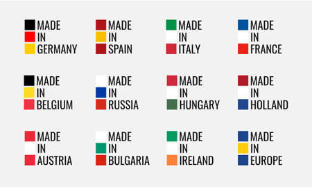 set of vector labels made in spain, italy, germany, france, belgium, russia, holland, austria, hungary, ireland, bulgaria and made in europe, european union flag