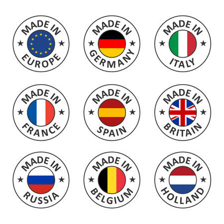 vector icon set made in germany, france, italy, spain, belgium, russia, holland, britain and made in european union, eu countries flag label stamp