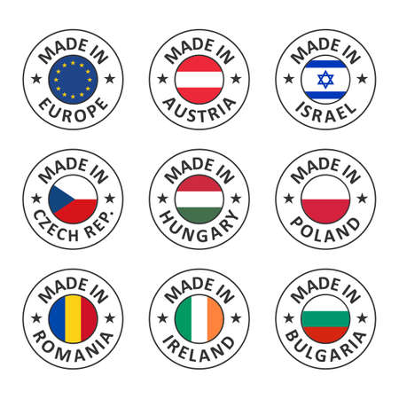 vector icon set made in austria, poland, israel, hungary, czech republic, romania, bulgaria, ireland and made in european union, eu countries flag label stamp