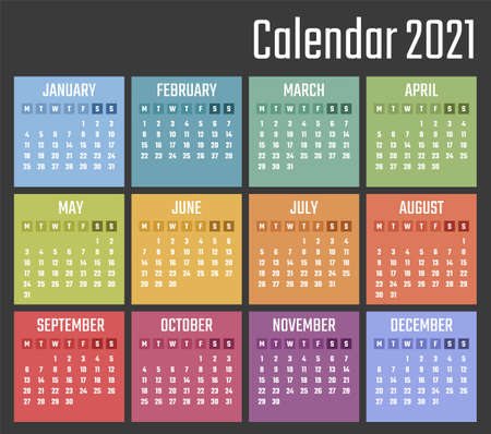 calendar for 2021 starts monday, vector calendar design 2021 year