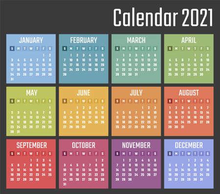 calendar for 2021 starts sunday, vector calendar design 2021 year