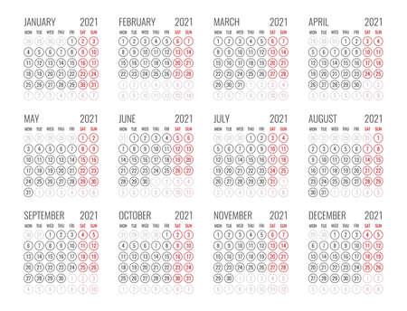 calendar for 2021 starts monday, vector calendar design 2021 year