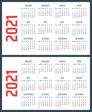 calendar for 2021 starts sunday and monday, vector calendar design 2021 year