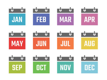 calendar 12 month icon set, color signs for all months of the year