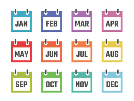 12 month calendar sign set vector illustration, color signs for all months of the year