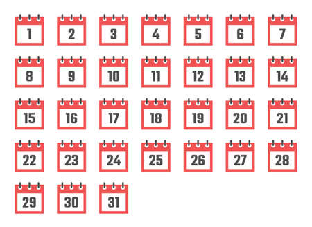calendar dates flat icon set from 1 to 31 Vectores