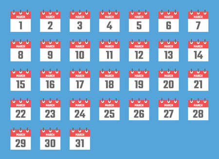 march calendar sign set vector illustration, color signs for all dates of the march