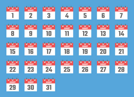 august calendar sign set vector illustration, color signs for all dates of the august Vectores