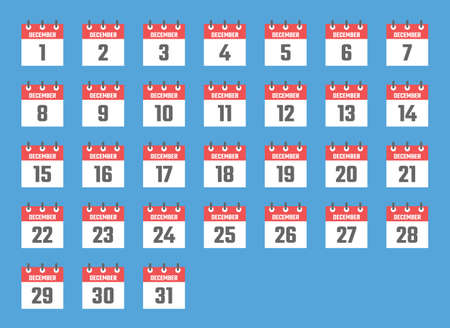 december calendar sign set illustration, color signs for all dates of the december
