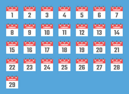 february calendar sign set illustration, color signs for all dates of the february
