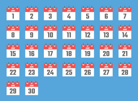 june calendar sign set illustration, color signs for all dates of the june