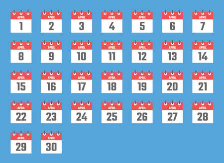 april calendar sign set illustration, color signs for all dates of the april