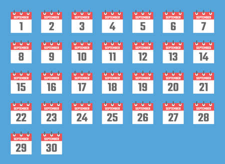 september calendar sign set illustration, color signs for all dates of the september Vectores