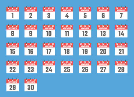 november calendar sign set illustration, color signs for all dates of the november