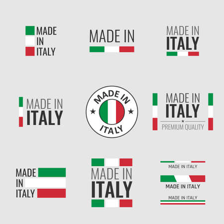 made in Italy labels set, Italian product emblem Vectores