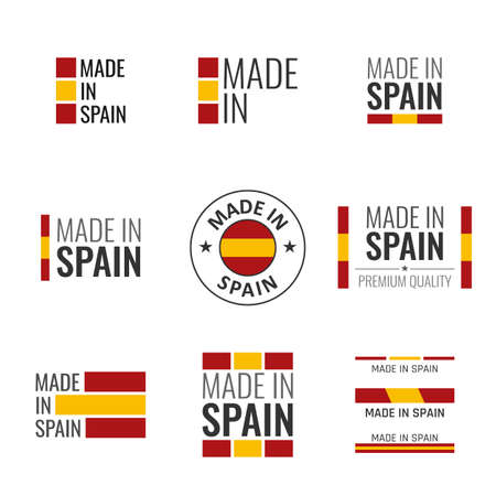 made in Spain labels set, Spanish product emblem
