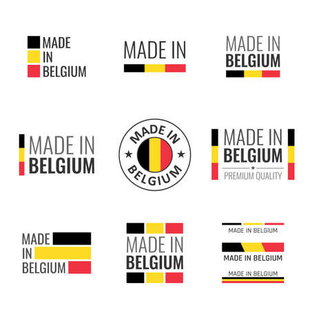 made in Belgium labels set, Belgian product emblem