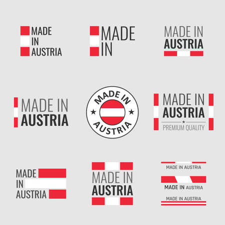 made in Austria labels set, Republic of Austria product emblem