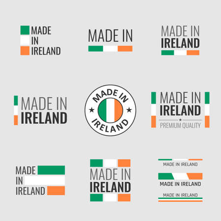 made in Ireland labels set, Republic of Ireland product emblem