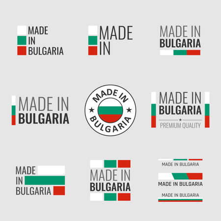 made in Bulgaria labels set, Bulgarian product emblem Vectores