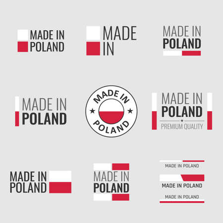 made in Poland labels set, made in Poland product emblem Vectores