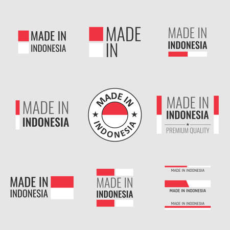 made in Indonesia icon set, product labels of the Republic of Indonesia Vectores