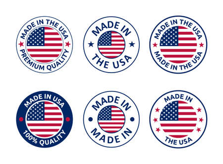 made in the usa labels set, american product emblem Banque d'images - 156736872