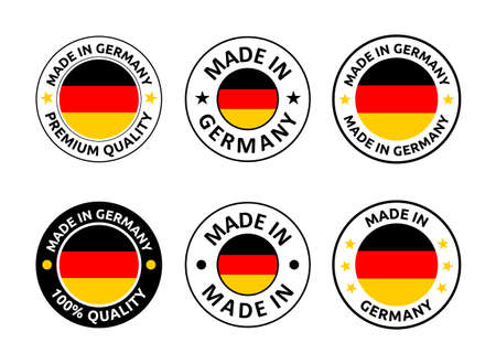 made in Germany labels set, German product emblem