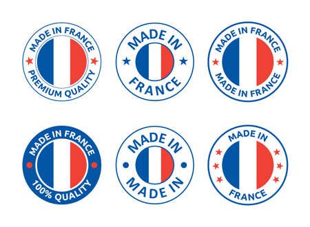 made in France labels set, French product emblem