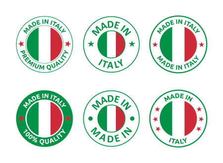 made in Italy labels set, Italian product emblem 向量圖像
