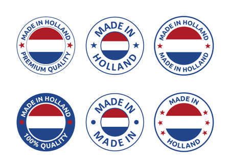 made in Netherlands labels set, Holland product emblem Vectores