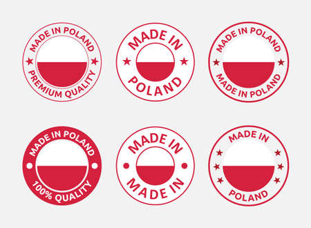 made in Poland labels set, made in Poland product emblem Banque d'images - 157104179