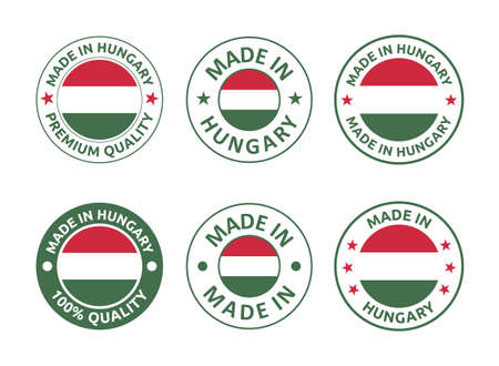 made in Hungary labels set, product emblem of Hungary