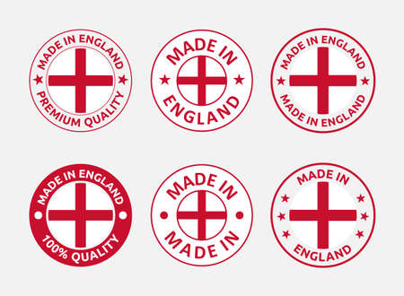 made in England labels set, made in England product emblem Vectores