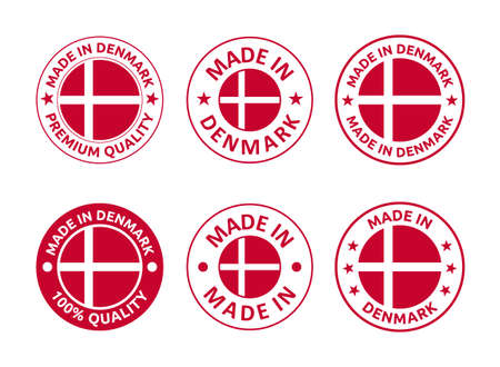 made in Denmark labels set, made in Kingdom of Denmark product emblem