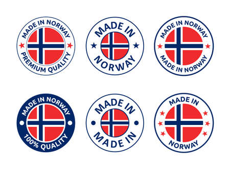 made in Norway labels set, made in Kingdom of Norway product emblem