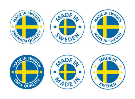 made in Sweden labels set, made in Kingdom of Sweden product emblem Vectores