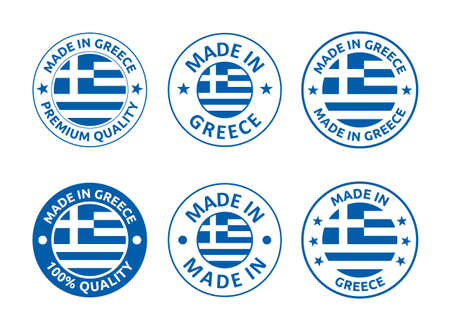 made in Greece labels set, Hellenic Republic product emblem