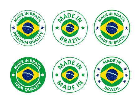 made in Brazil labels set, Federative Republic of Brazil product emblem Vectores