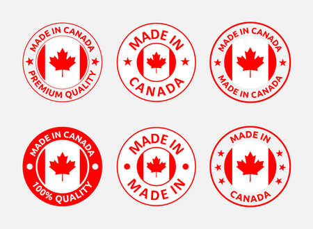 made in Canada labels, Canadian product emblems set