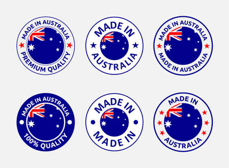 made in Australia labels set, made in Commonwealth of Australia product emblem Vectores