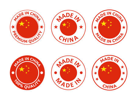 made in China labels set, Chinese product emblem 向量圖像